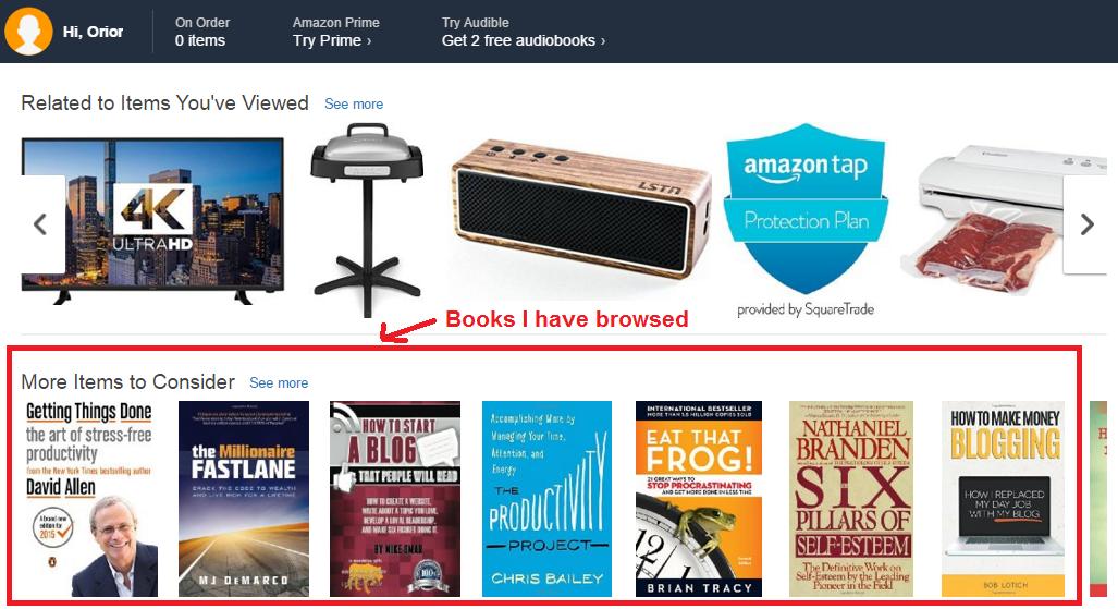 Content personalization Amazon
