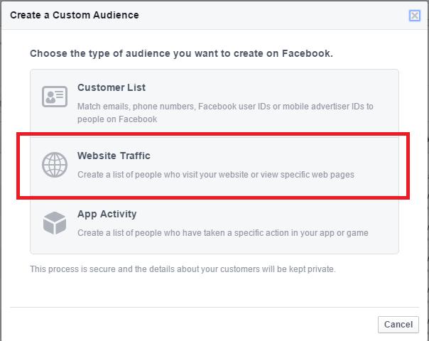 Facebook custom audience website traffic