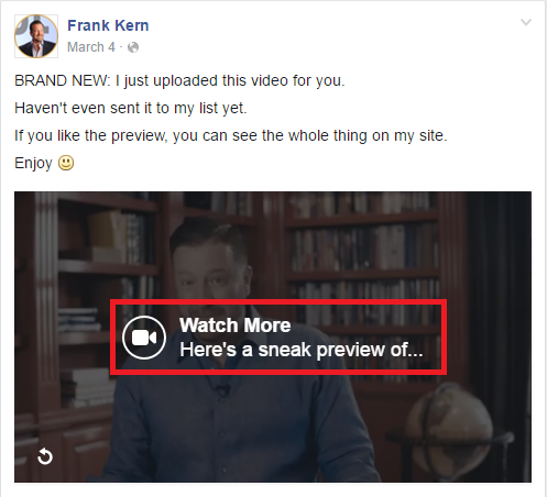 Facebook page using video