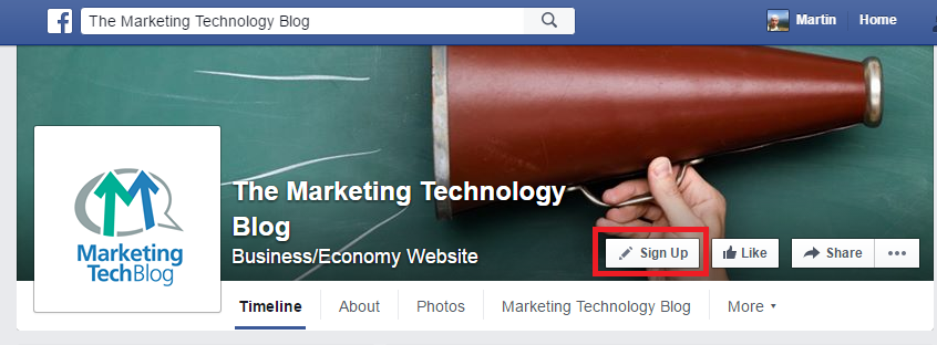 Marketing tech blog facebook page sign up button