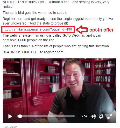 Frank kern opt-in offer within video