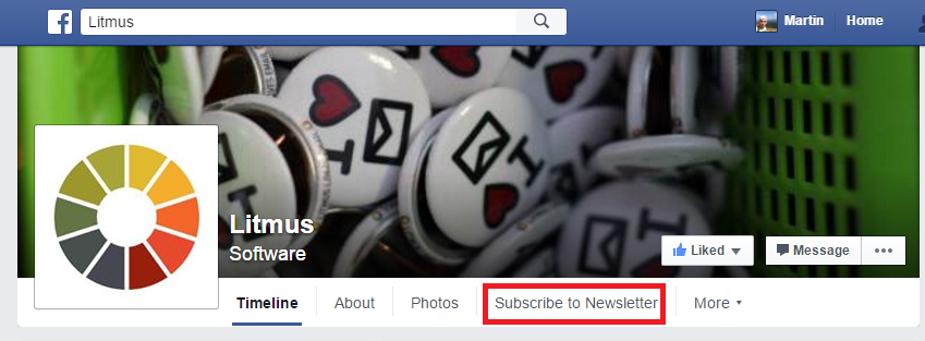 Litmus Subscriber to Newsletter Facebook page tab