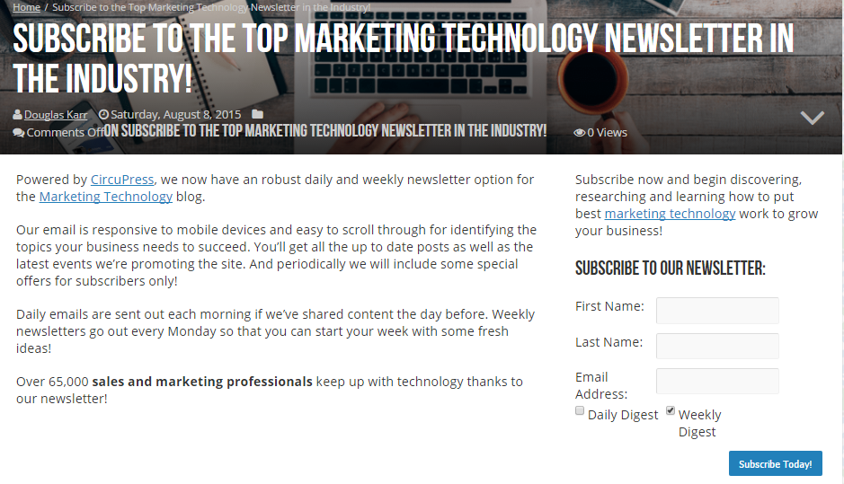 Marketing tech blog subscribe page