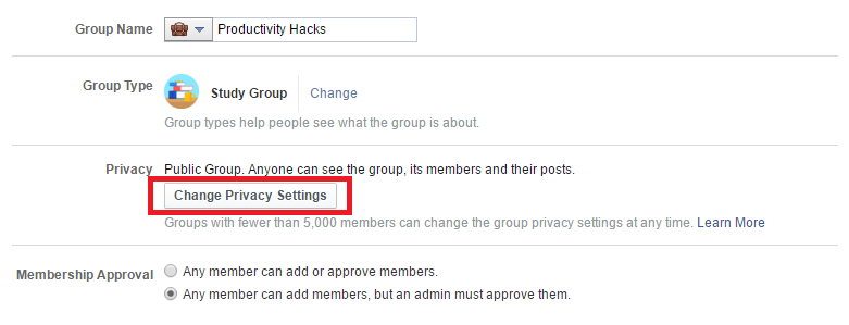 Facebook group privacy settings