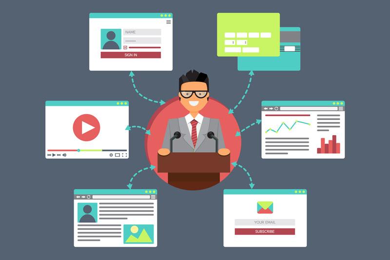 illustration of man delivering webinar