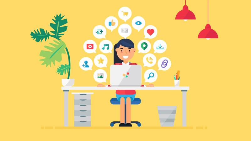 illustration of business woman using social media