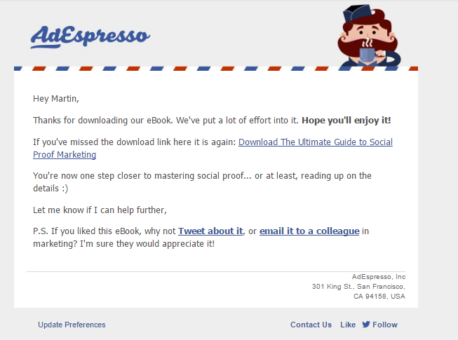AdEspresso welcome email