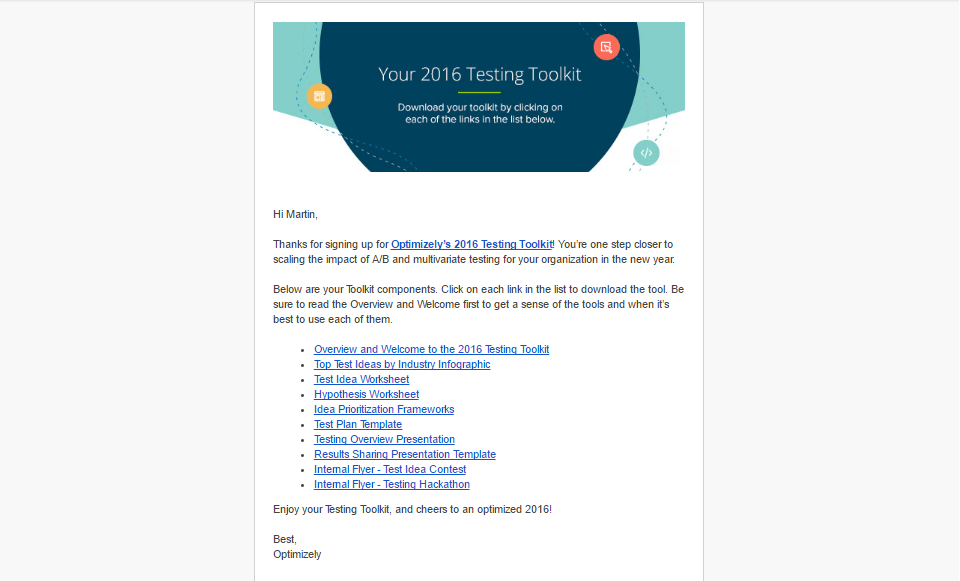 Optimizely welcome email