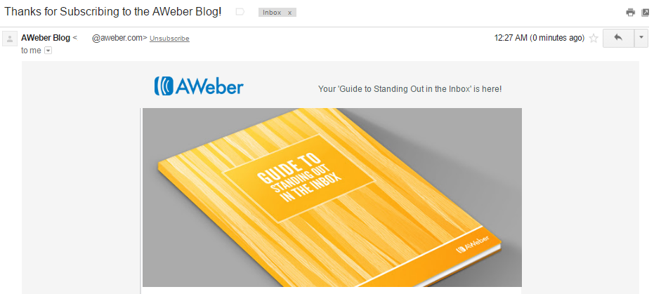 Aweber welcome email top