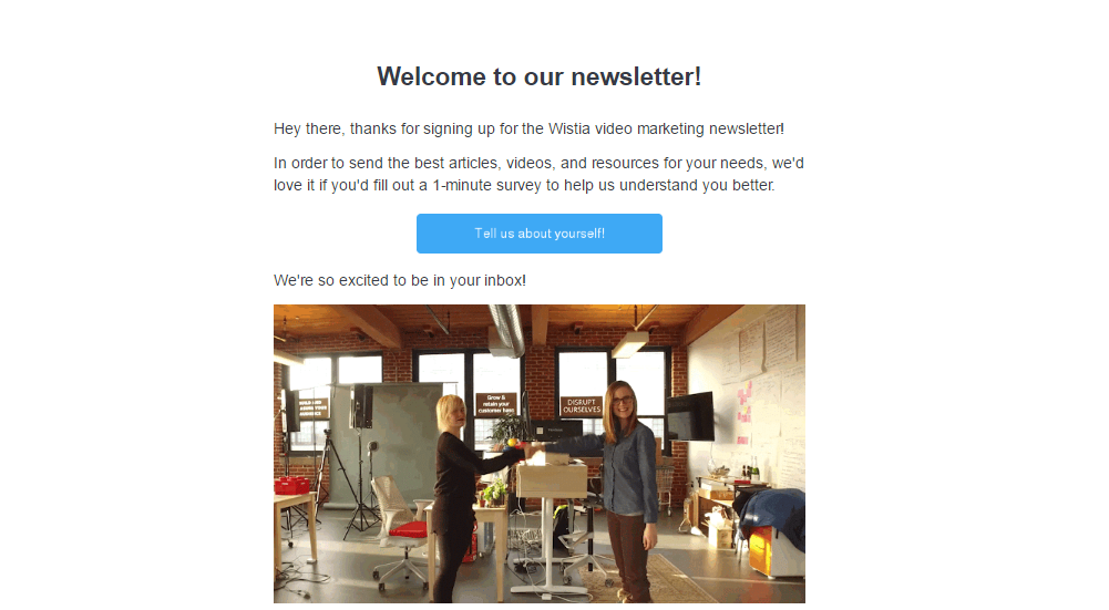 Wistia welcome email