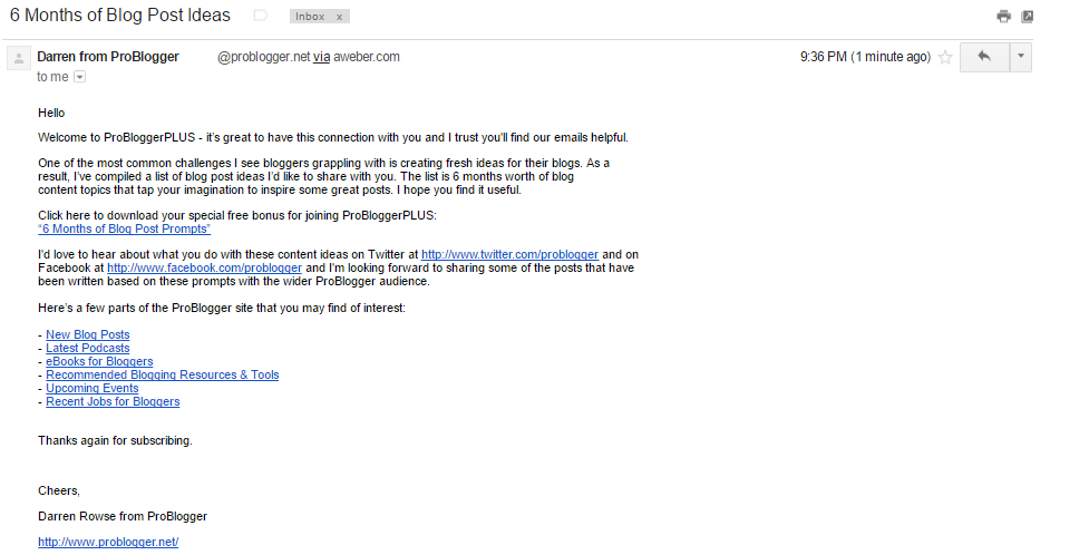 Problogger welcome email 2