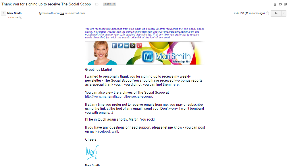 Mary Smith welcome email
