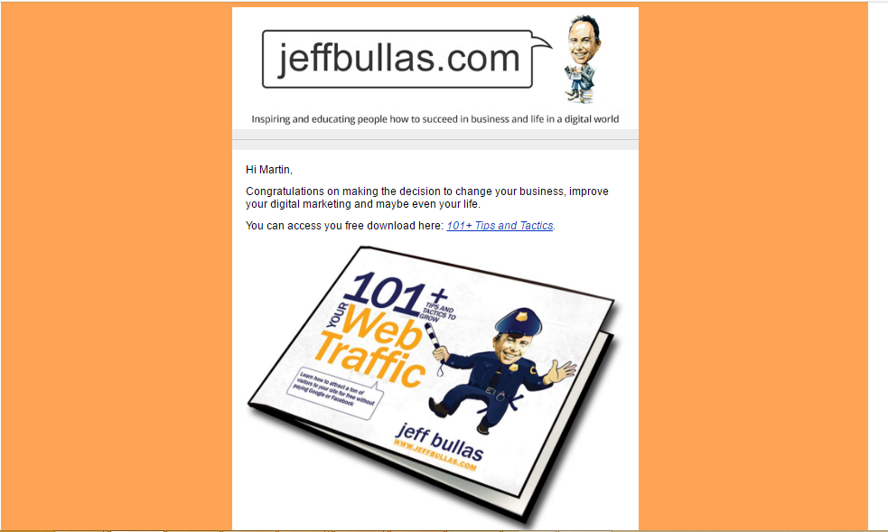 Jeff Bullas welcome email part 2
