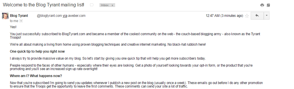 BlogTyrant welcome email part 1
