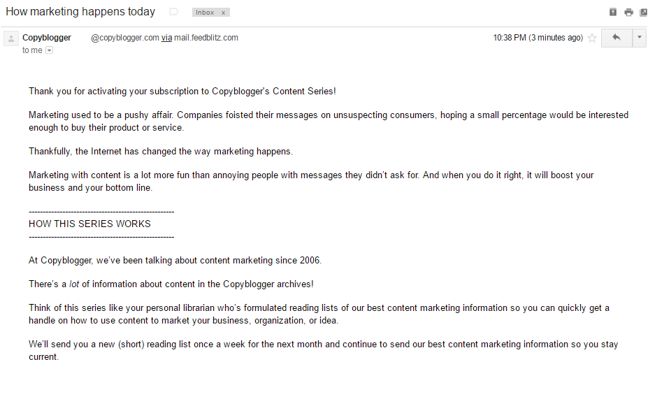 CopyBlogger welcome email part 1