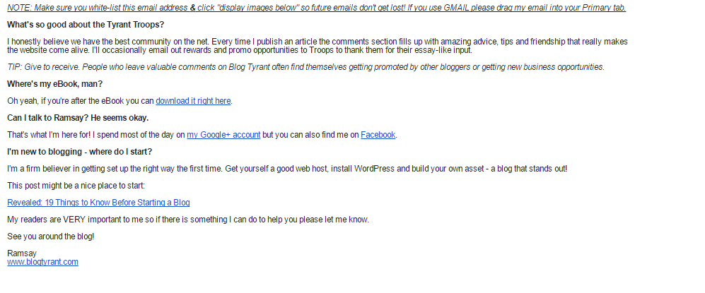 BlogTyrant welcome email part 2