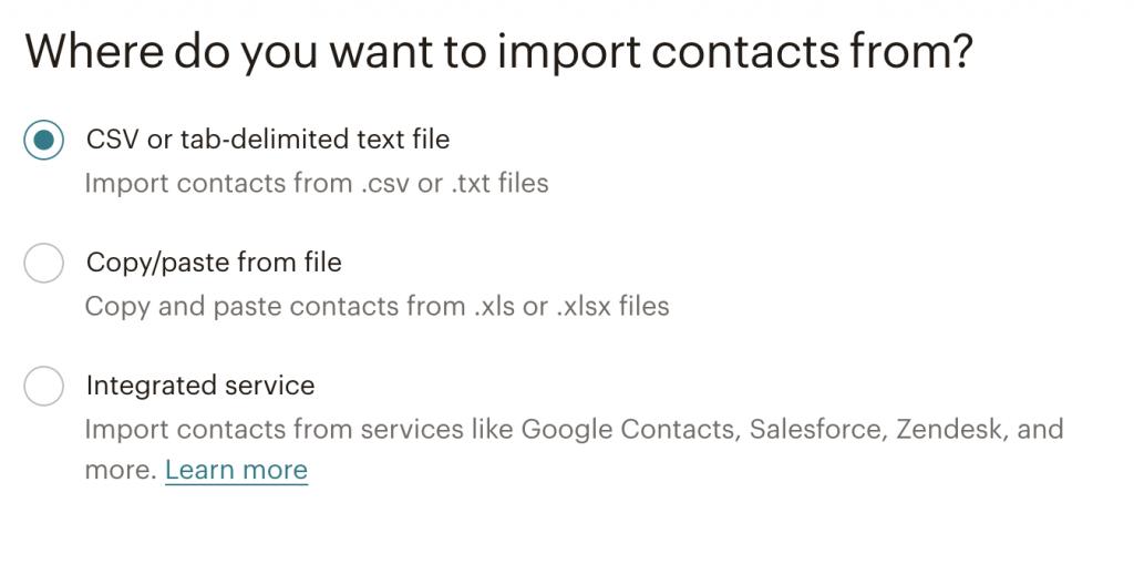 mailchimp import contacts methods