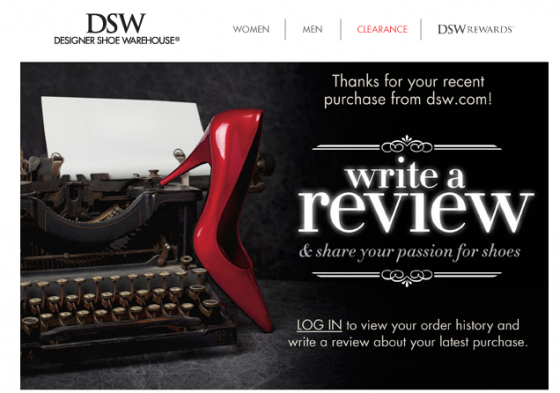 dsw order confirmation email reviews