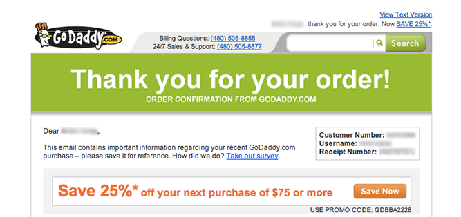 godaddy upsell order confirmation email