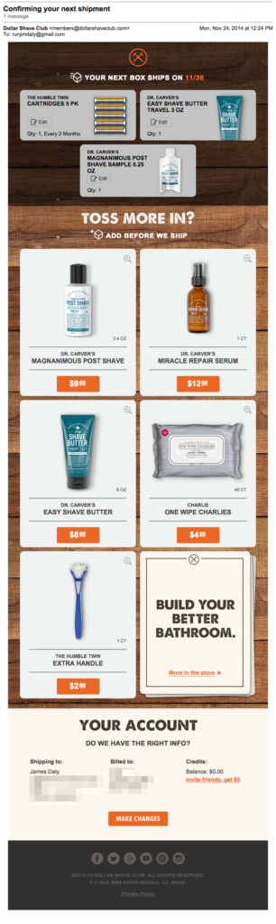 dollar shave club upsell order confirmation email