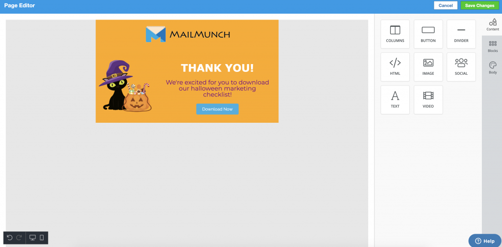 Screenshot of MailMunch thankyou page editor