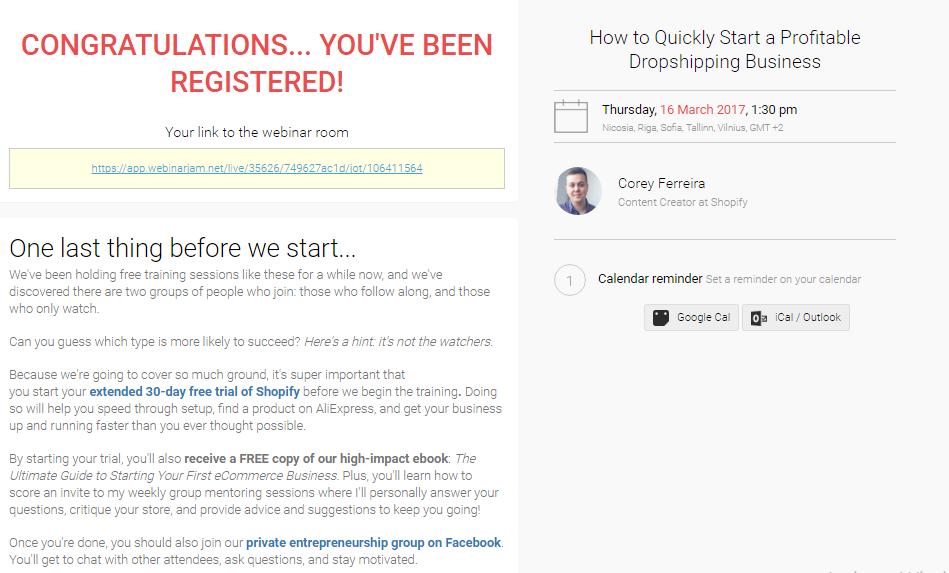 Shopify webinar thank you page