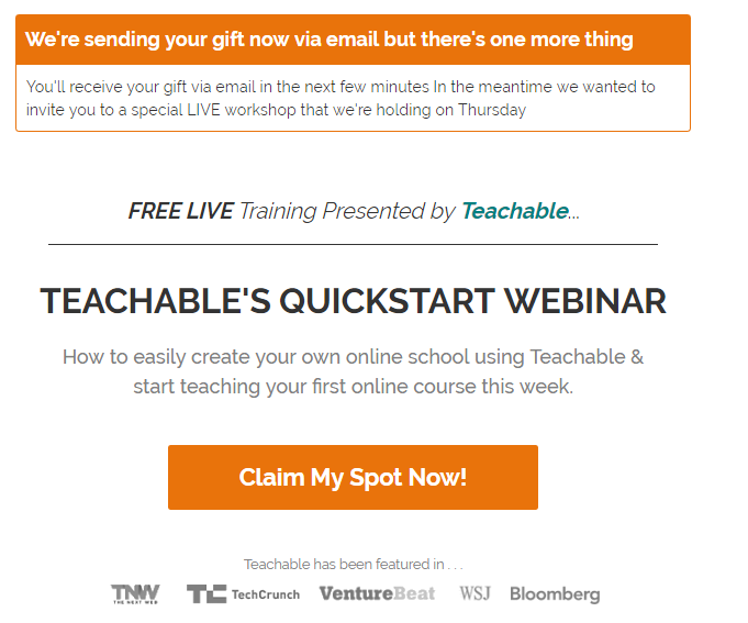 Teachable thank you page