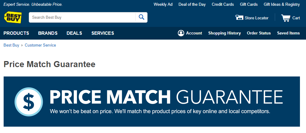 bestbuy price match guarantee