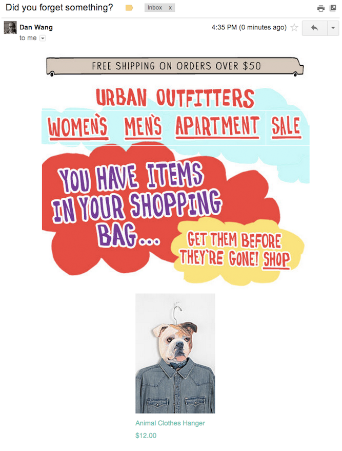 urban outfitters cart abandonment email