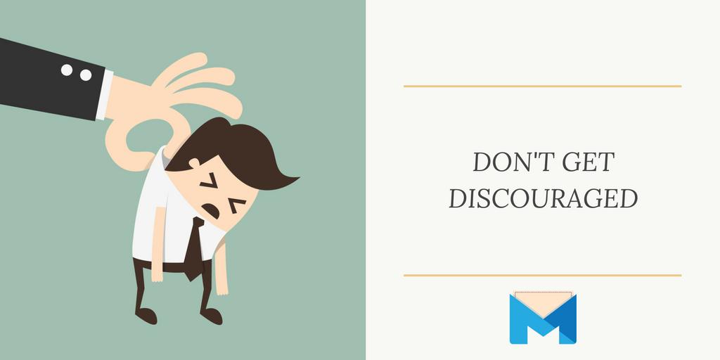 don't get discouraged viral marketing: Sad illustrated man