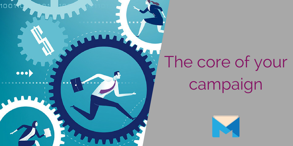 The core of your online marketing campaign section header -- business people running in gears
