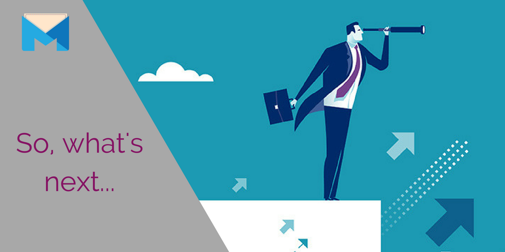 What's next for your b2b online marketing campaign header image with man looking out