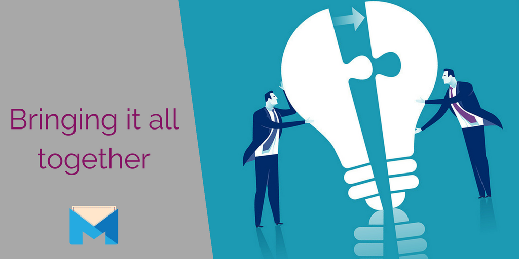 Bringing your b2b marketing plan together section heading with men pushing together a lightbulb puzzle