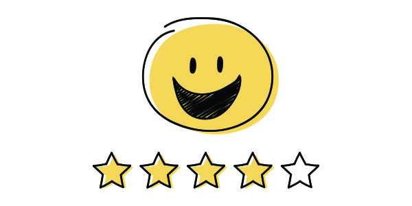 Boost your Shopify dropshipping success rate. Continually seek customer feedback - A smiley face with a star rating under it.