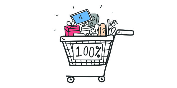 """Boost your Shopify dropshipping success rate. Reduce cart abandonment - A super full shopping cart with """"100%"""" written on the side of it."""