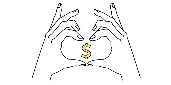 Boost your Shopify dropshipping success rate. Regularly offer ways to save - Two hands for a heart around a dollar symbol.