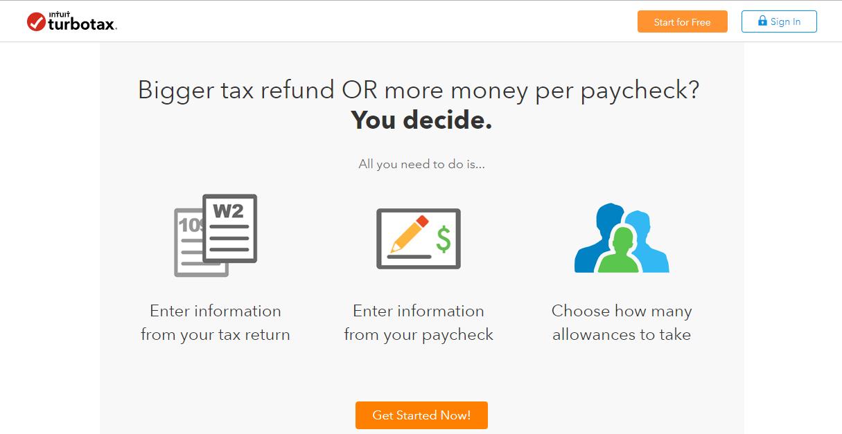 turbo tax landing page