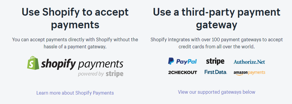 Shopify payment capabilities