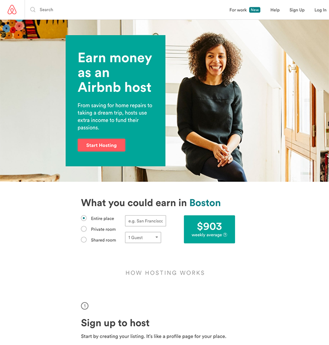 Airbnb landing page for boston