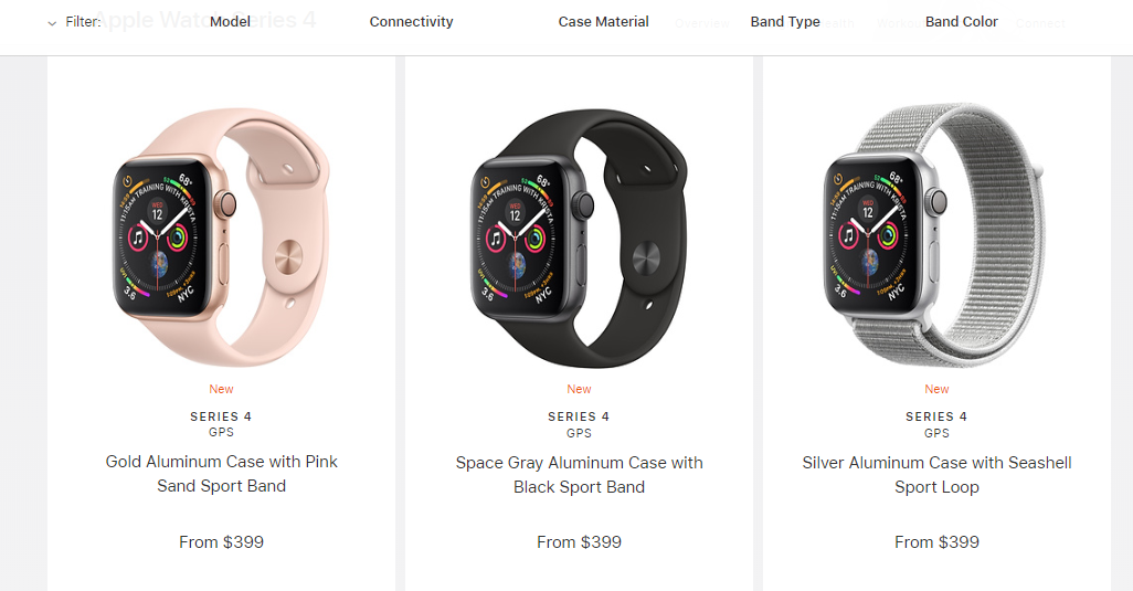 apple website showing apple watches against white background