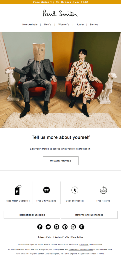 Paul Smith Welcome Email