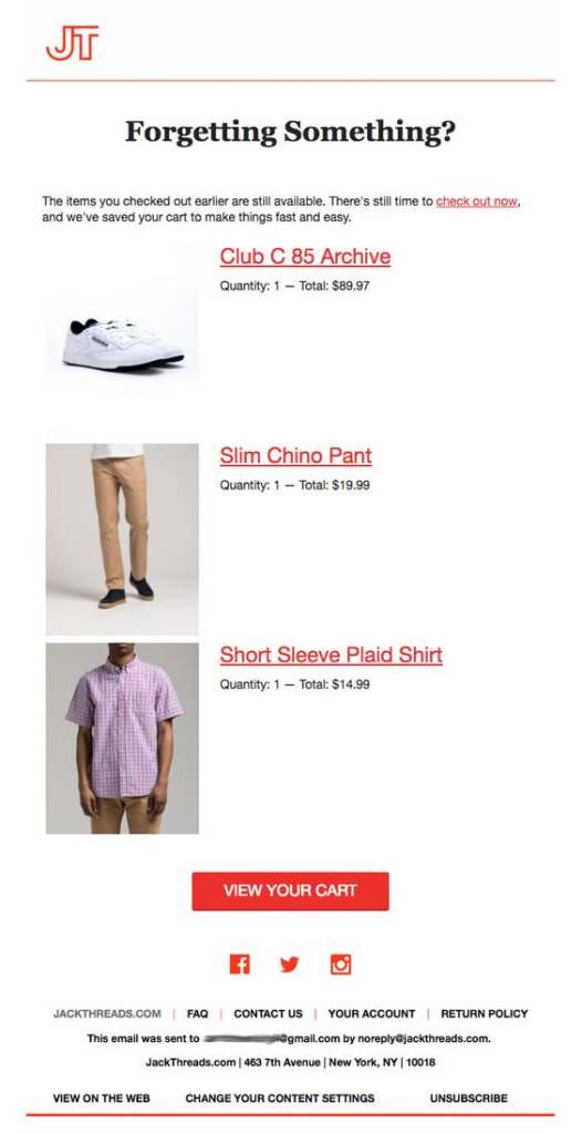 Jack Threads Cart Abandonment Email
