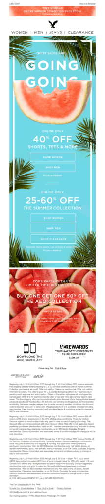 American Eagle Outfitters Discount Email