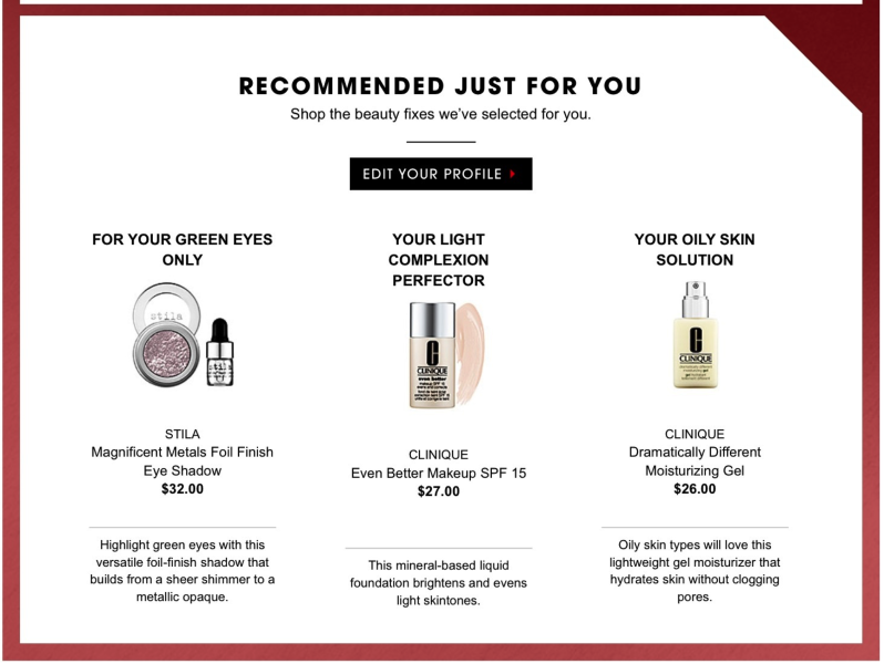 Sephora recommendations email