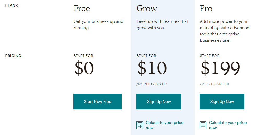 mailchimp 2018 pricing page