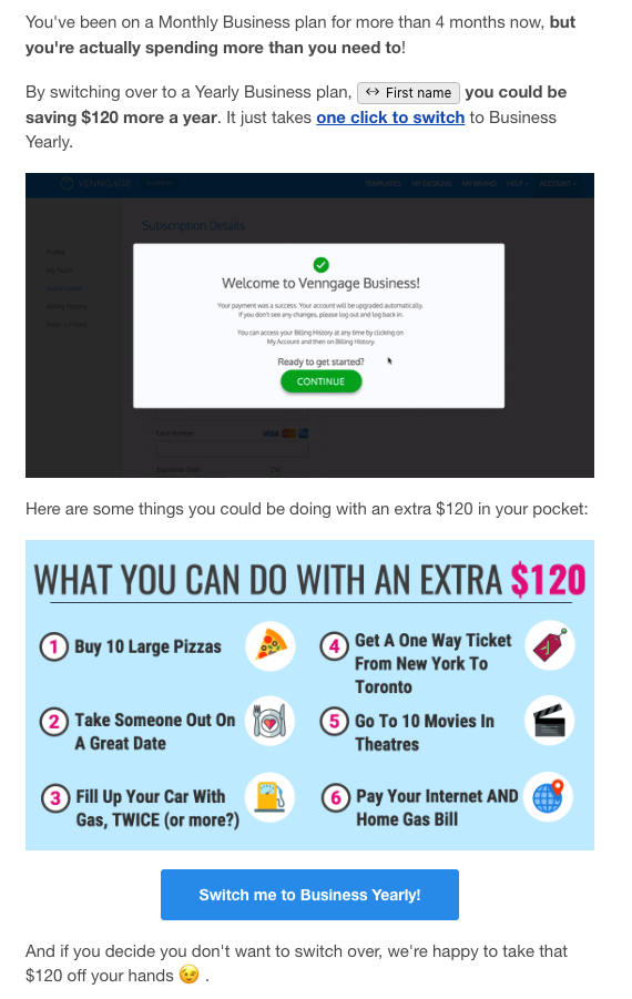 Venngage Email Example
