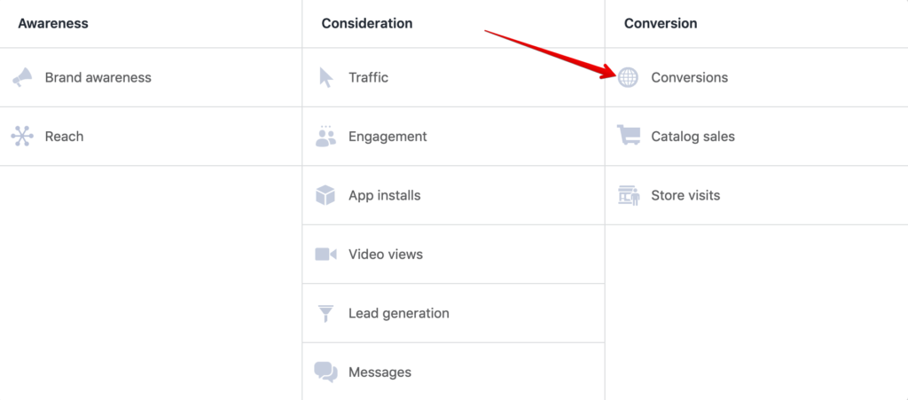Facebook ad objective screen