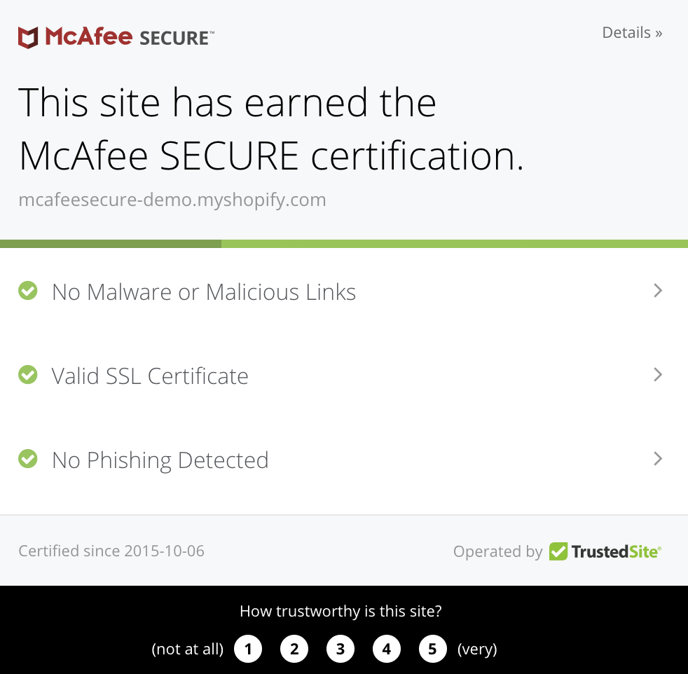web page showing Mcafee secure certification