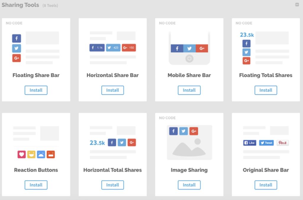 get social sharing tool options