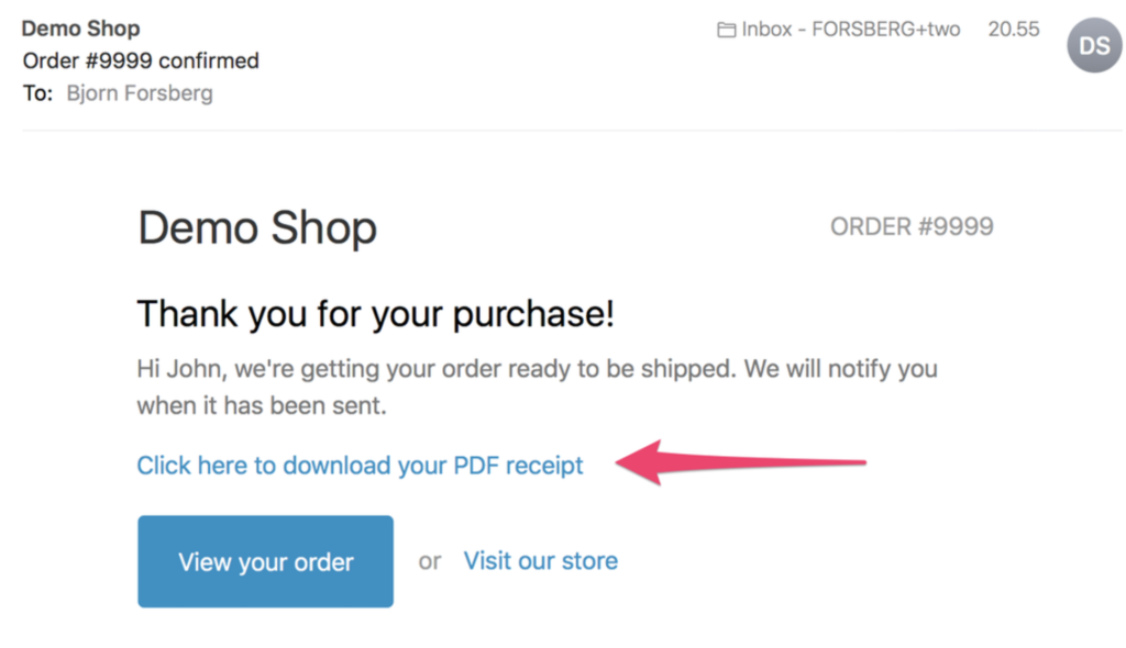 post purchase page showing option to download pdf receipt for order